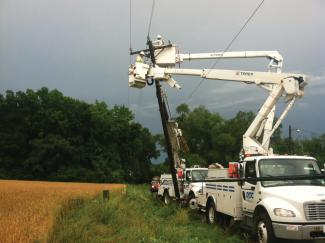 Crews work after a storm