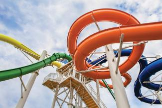 The water park features four slides for the kids.