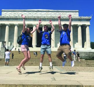 Grace Sekscinski, Kegan Walker and Taylor Davis at the Lincoln Memorial during the 54th annual National Rural Electric Cooperative Association's (NRECA) Youth Tour.